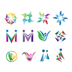 M Social family logo, leaf vector set design