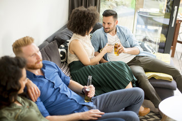 Group of friends watching TV, drinking cider  and having fun