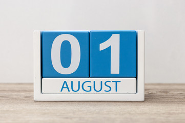 August 1st. Image of august 1, close-up wooden color calendar on white background. Summer day