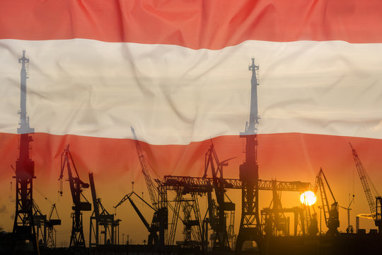 Industrial concept with Austria flag at sunset