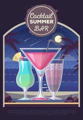 Flat style design of cocktail summer bar. Cocktail menu