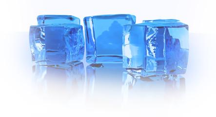 3d render ice cubes