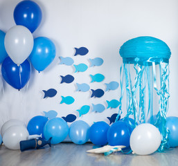 holiday decoration in marine style for children's birthday.