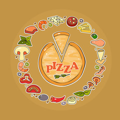 Vector set of pizza ingredient icon.