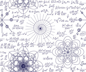 Mathematical vector seamless pattern with handwritten algebra formulas, equations and hand drawn geometry figures on white paper. Science endless texture
