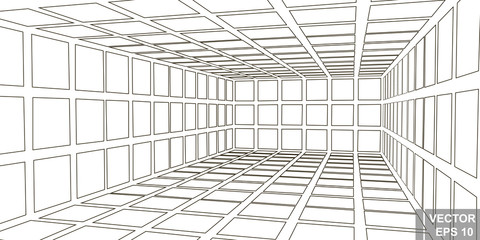 Perspective. Square. Three-dimensional 3D. The outline is isolated on a white background. Wall mural