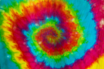 tie dyed pattern on cotton fabric.