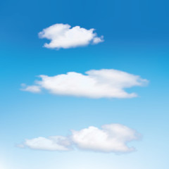 Clouds in the blue sky. Vector cloud samples