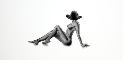 Naked woman drawing