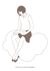 Girl reading sitting on a cloud. Isolated. Vector Illustration outlines.