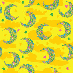 Seamless pattern with moon for bedding and fabric. The moon with clouds to color the sky