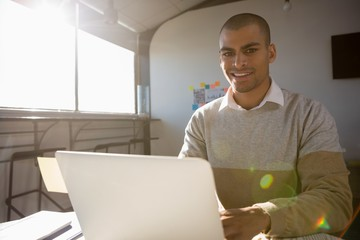 Portrait of man using laptop at office on sunny day