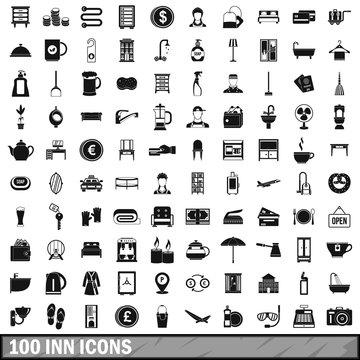 100 inn icons set, simple style