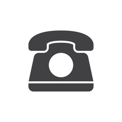 Old telephone icon vector, filled flat sign, solid pictogram isolated on white. Phone symbol, logo illustration. Pixel perfect graphics