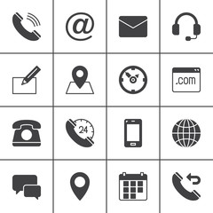 Contact vector icons set, modern solid symbol collection, filled pictogram pack. Signs, logo illustration. Set includes icons as map, globe, phone, call, clock, handset, message, email, call back