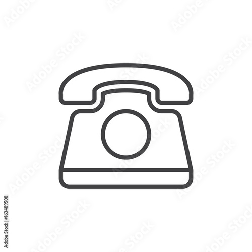 u0026quot old telephone line icon  outline vector sign  linear style pictogram isolated on white  phone