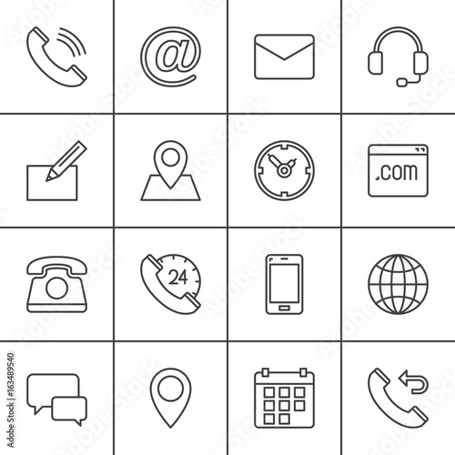 Contact line icons set, outline vector symbol collection, linear