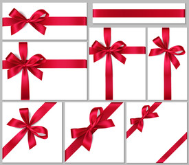 Vector collection of gift boxes with red bow and ribbon