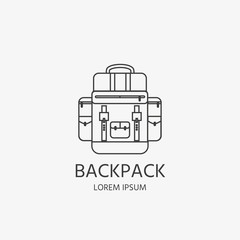 Camping elements. Icon of backpack for forest camp.
