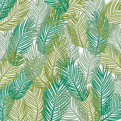 Vector pattern. Leaves of a tropical palm tree.  Banana leaf background. Exotic design.