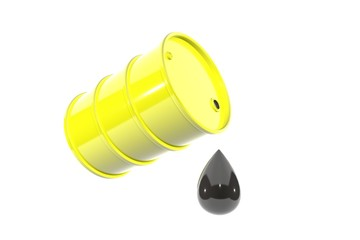3d illustration: yellow metal barrel of gasoline tipped with a huge drop of oil drips down. Isolated on white background with empty space for text.