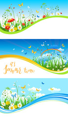 Blue sky and flowers banners
