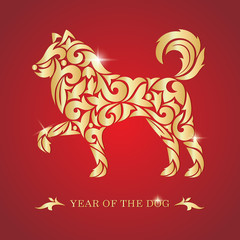 2018 Chinese New Year. Year of the dog. Vector illustration.