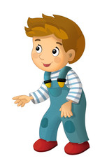 cartoon happy and funny boy standing looking and smiling - isolated illustration for children