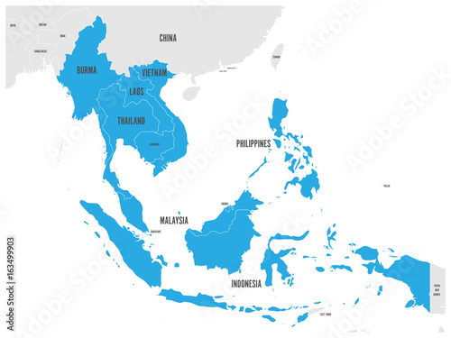 Asean economic community aec map grey map with blue highlighted grey map with blue highlighted member countries gumiabroncs Choice Image