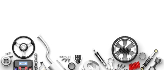 Various car parts and accessories on white background. 3d illustration
