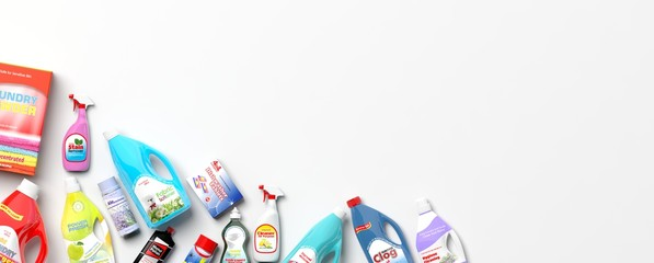 Collection of household cleaning products. 3d illustration