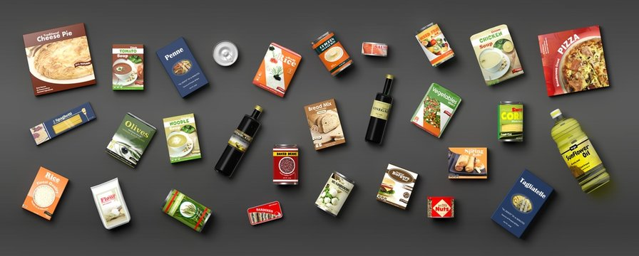 Collection of packaged food on grey background. 3d illustration