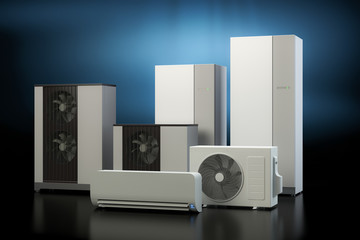 Air heat pump collection - dark background
