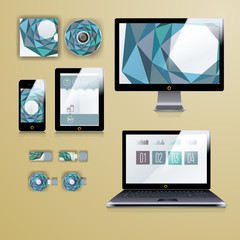 Modern application template design for corporate identity. Computer tablet and phone set.