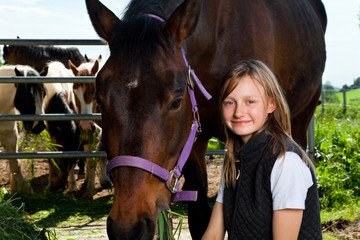 Girl On Horse Ranch