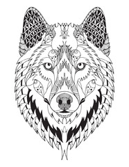 Gray wolf head zentangle stylized, vector, illustration, freehand pencil, hand drawn, pattern. Zen art. Ornate vector.