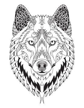 Gray wolf head zentangle stylized, vector, illustration, freehand pencil, hand drawn, pattern. Zen art. Ornate vector.
