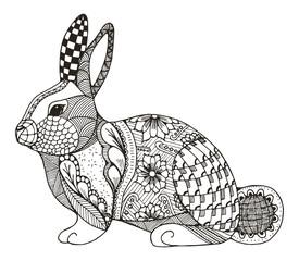 Rabbit zentangle stylized, vector, illustration, pattern, freehand pencil, hand drawn. Coloring. Zen art.