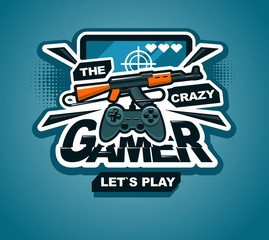gamer logo cool vector print or sticker illustration creative design