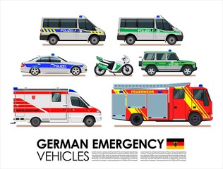 German emergency cars vehicles transport vector set. Police car, Fire truck, Ambulance van Emergency cars of Deutsche flat design vector collection