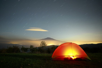 lighting Tent, Etna Mount And Stars Trails, Sicily