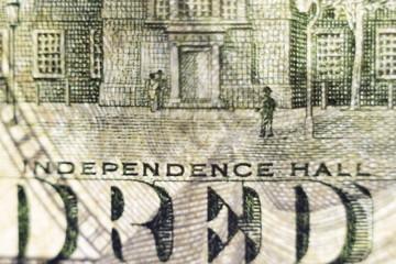 Macro elements on the US one hundreed dollar bill