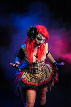 The queen of the carnival. An evil female clown character