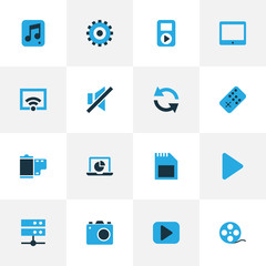 Music Colorful Icons Set. Collection Of Photo, Datacenter, Gear And Other Elements. Also Includes Symbols Such As Play, Mute, Cast.