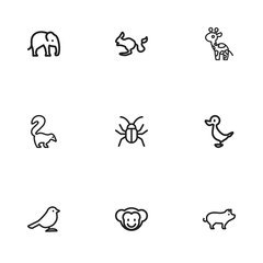 Set Of 9 Editable Zoo Icons. Includes Symbols Such As Ape, Pig, Rodent Desert And More. Can Be Used For Web, Mobile, UI And Infographic Design.