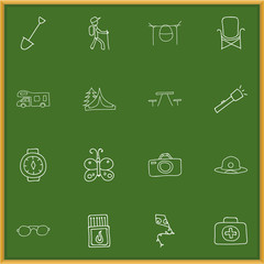 Set Of 16 Editable Trip Icons. Includes Symbols Such As Photographing, Flammable Stick, Flashlight And More. Can Be Used For Web, Mobile, UI And Infographic Design.