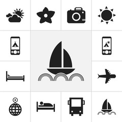 Set Of 12 Editable Travel Icons. Includes Symbols Such As Photo Cam, Cloudy Day, Omnibus And More. Can Be Used For Web, Mobile, UI And Infographic Design.