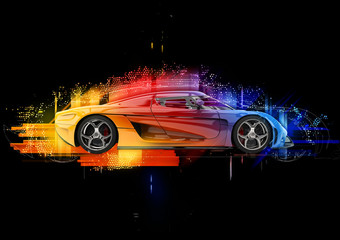 Concept sports car - colorful abstract illustration