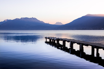 Magnificent view of Lake Annecy at sunset on the mountain
