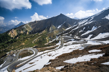 Mountain panorama of the Col d'Izoard road